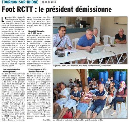 Dauphiné Libéré du 07-07-2018- Foot de Tain-Tournon