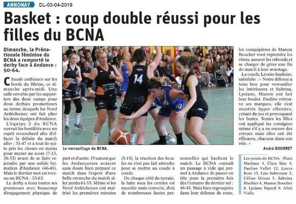 Le Dauphiné Libéré du 03-04-2019- Basket d'Annonay