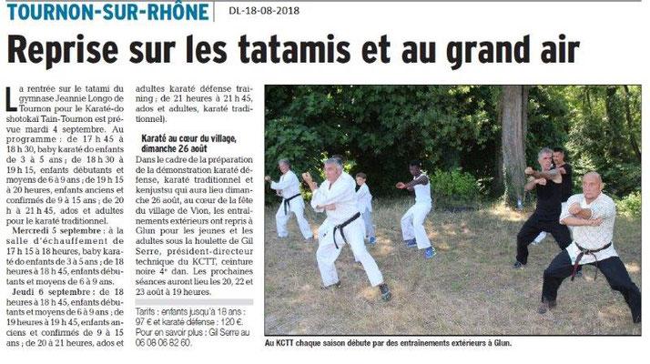 Dauphiné Libéré du 18-08-2018- Reprise du Karaté do-shotokaï à Tain-Tournon