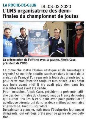 Dauphiné libéré du 03-03-2020- Joutes La Roche de Glun