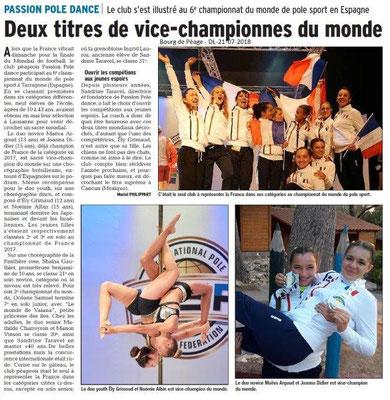 Dauphiné Libéré du 21-07-2018- Bourg de Péage, les Championnes du Monde de Pole Sport