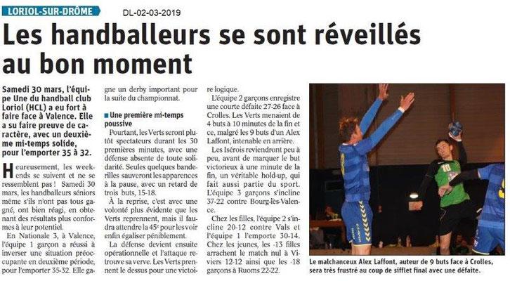 Le Dauphiné Libéré du 02-04-2019- Les handballeurs de Loriol