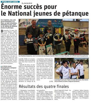 Le Dauphiné Libéré du 04-04-2019- Pétanque à Bourg Saint-Andéol