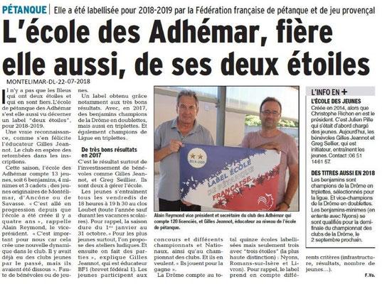 Dauphiné Libéré du 22-07-2018- L'école de Pétanque des Adhémar labellisée
