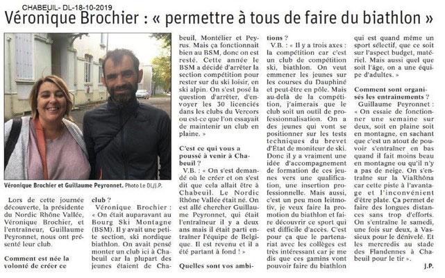 Dauphiné libéré du 18-10-2019- Biathlon à Chabeuil