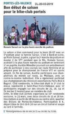 Dauphiné Libéré du 20-03-2019- Bike Club Portois