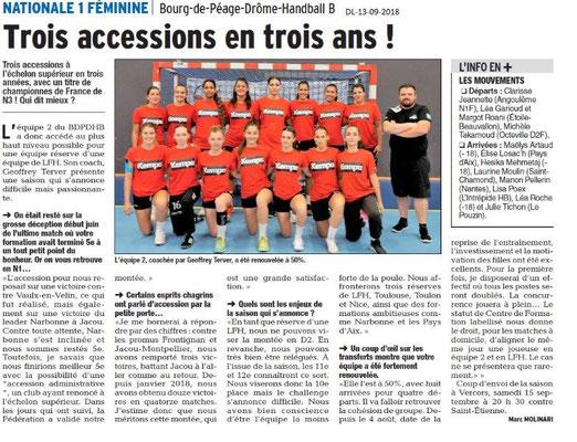 Dauphiné Libéré du 13-09-2018- Bourg de Péage Handball féminin Nationale 1