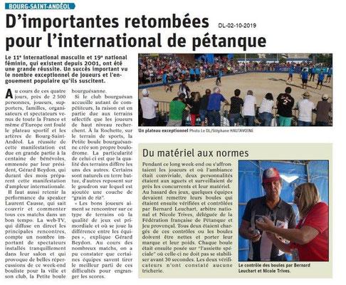 Dauphiné libéré du 02-10-2019- Réussite de l'international de pétanque