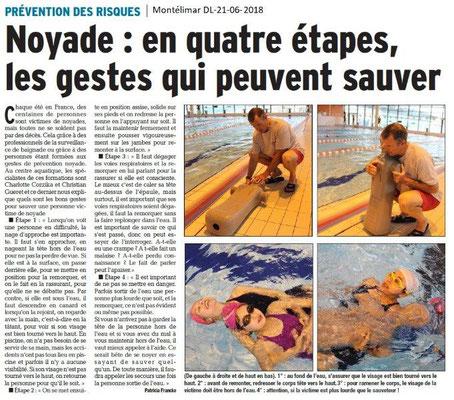 Dauphiné Libéré du 21-06-2018- Prévention des risques noyade à Montélimar