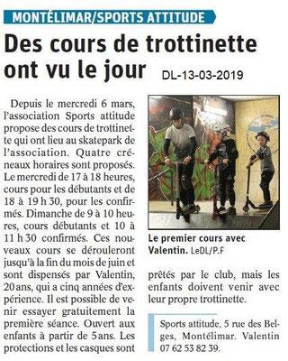 Le Dauphiné Libéré du 13-03-2019- Cours de trottinette à Montélimar
