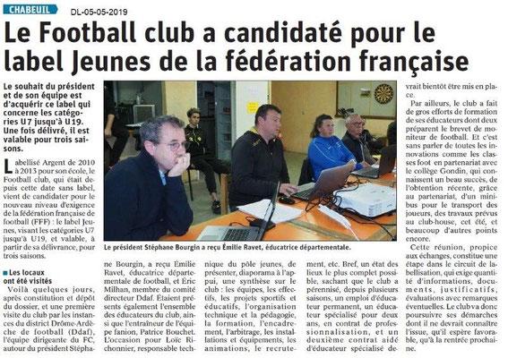 Le Dauphiné Libéré du 05-05-2019- Football de Chabeuil