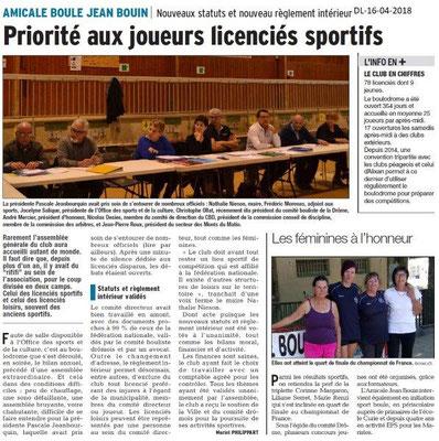 Dauphiné Libéré du 16-04-2018-Amicale Boule-Bourg de Péage