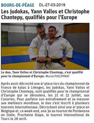 Dauphiné Libéré du 27-03-2019- Les judokas de Bourg de Péage