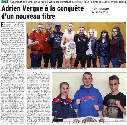 Dauphiné Libéré du 18-05-2018-Boxing Club Tain-Tournon