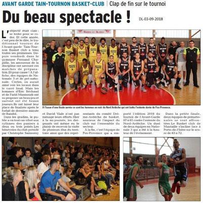 Dauphiné Libéré du 03-09-2018- Basket club de Tain-Tournon