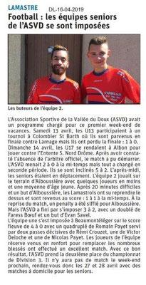Le Dauphiné Libéré du 16-04-2019- Foot de Lamastre