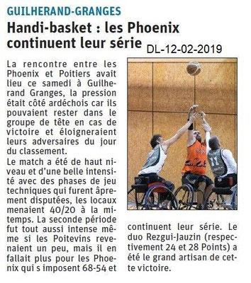 Dauphiné Libéré du 12-02-2019- Handi Basket les Phoenix GG