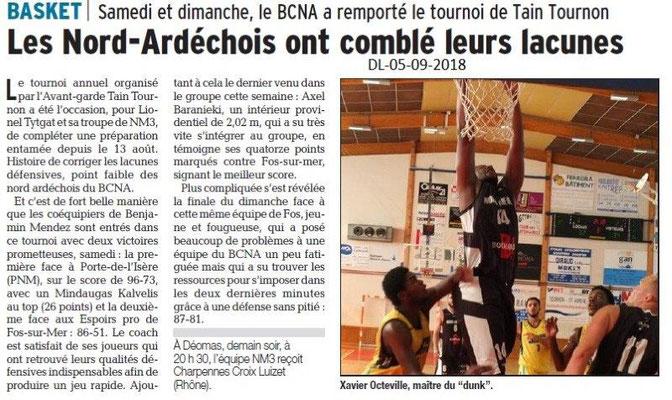 Dauphiné Libéré du 05-09-2018- Basket Tain-Tournon