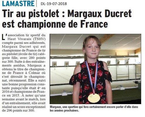 Dauphiné Libéré du 19-07-2018-Une championne de France à Lamastre