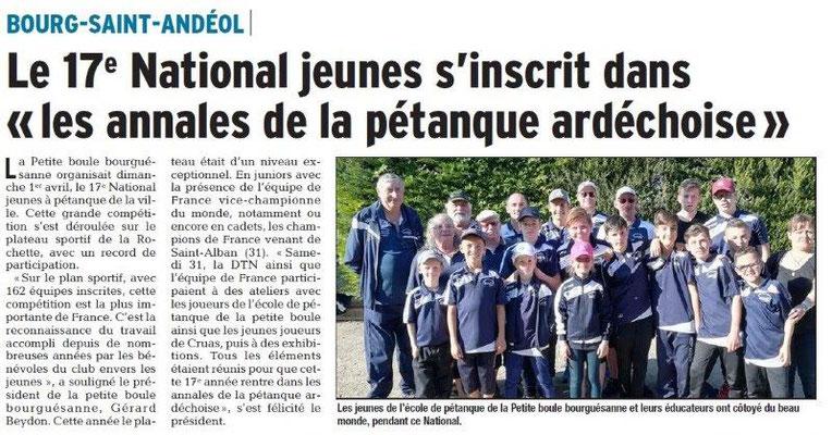 Dauphiné Libéré du 03-04-2018-Bourg Saint-Andéol