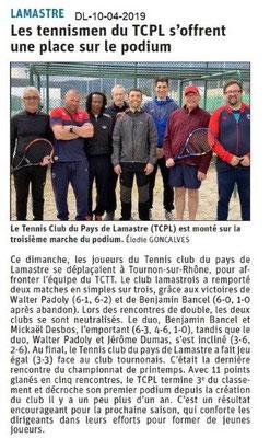 Le Dauphiné Libéré du 10-04-2019- Le tennis de Lamastre
