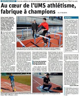 Dauphiné Libéré du 17-02-2019- USM Athlétisme deMontélimar