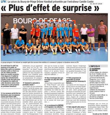 Dauphiné Libéré du 26-07-2018- Handball à Bourg de Péage