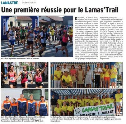 Dauphiné Libéré du 10-07-2018- Lamas'Trail une réussite