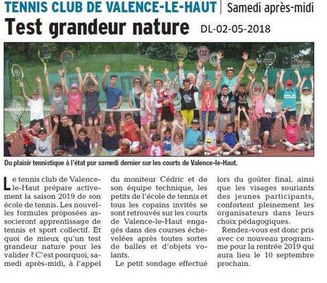 Dauphiné Libéré du 02-05-2018- Tennis club Valence-le-haut