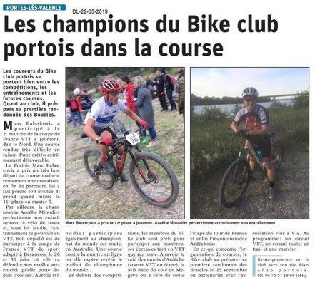 Le Dauphiné Libéré du 22-05-2019- Bike Club Portois