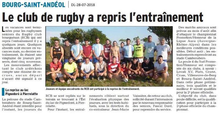 Dauphiné Libéré du 28-07-2018- BSA-Reprise au Rugby Bourguésan