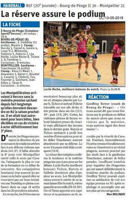 Le Dauphiné Libéré du 13-05-2019- Bourg de Péage Handball