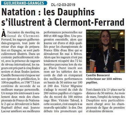 Le Dauphiné Libéré du 12-03-2019- Les Dauphins de Guilherand