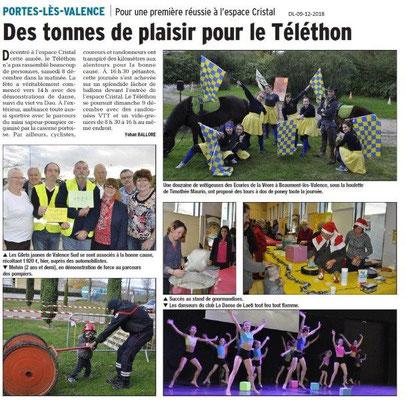Dauphiné libéré du 09-12-2018- Téléthon à Portes-les-Valence