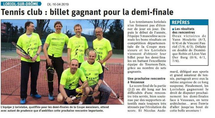 Le Dauphiné Libéré du 16-04-2019-Tennis-Club de Loriol