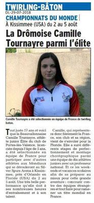 Dauphiné Libéré du 29-07-2018- PLV- Camille en route pour le championnat du monde de Twirling bâton aux USA