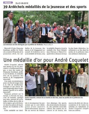 Dauphiné Libéré du 21-06-2019- Médailles jeunesse et sport d'Ardèche