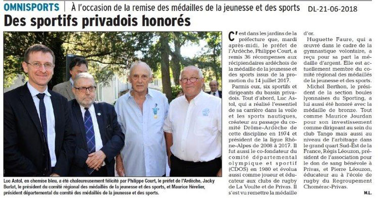 Dauphiné Libéré du 21-06-2018- Sportifs privadois honorés