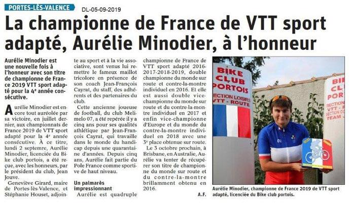 Dauphiné libéré du 05-09-2019- VTT Portois