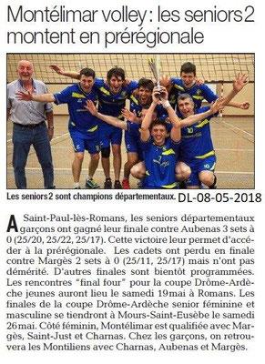 Dauphiné Libéré du 08-05-2018-Volley- Montélimar