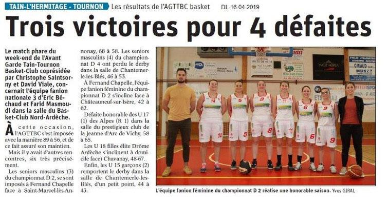 Le Dauphiné Libéré du 16-04-2019- Basket Tain-Tournon