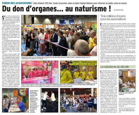 Dauphiné Libéré du 09-09-2018- Forum Associations de Valence