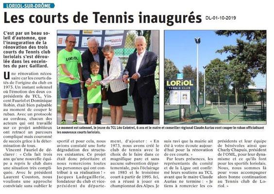 Dauphiné libéré du 01-10-2019- Inauguration des cours de Tennis à Loriol