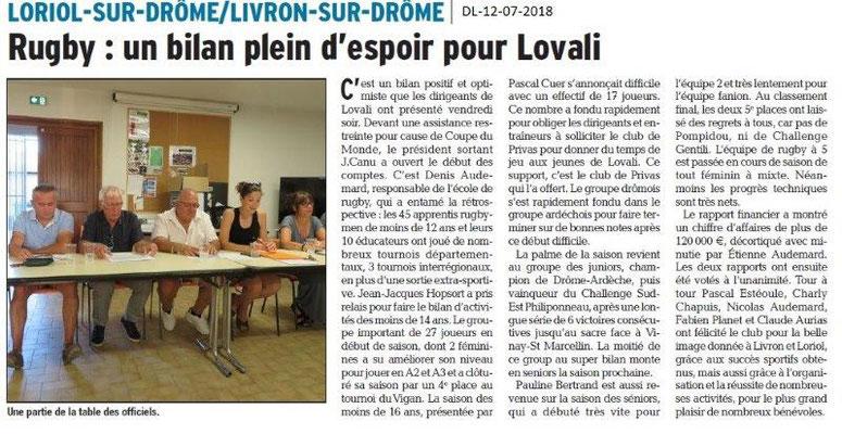 Dauphiné Libéré du 12-07-2018- Bilan pour LOVALI