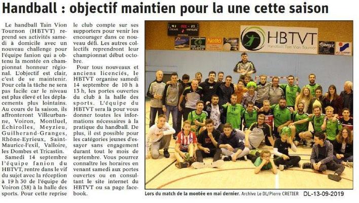 Dauphiné libéré du 13-09-2019- Handball Tain-Vion-Tournon