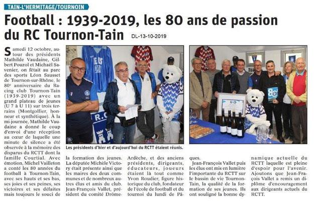 Dauphiné libéré du 13-10-2019- Football du RCTT