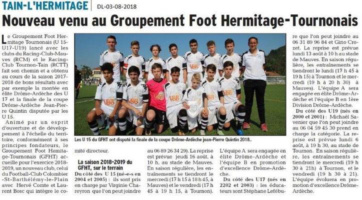 Dauphiné Libéré du 03-08-2018- Groupement Foot Hermitage-Tournonais