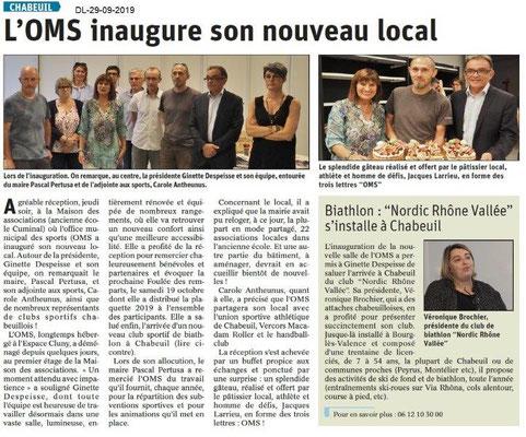 Dauphiné libéré du 29-09-2019- Inauguration du local OMS Chabeuil