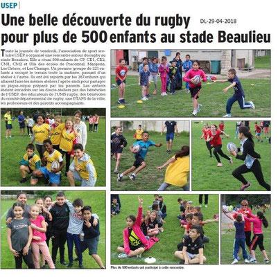 Dauphiné Libéré du 29-04-2018-Découverte du rugby-Montélima