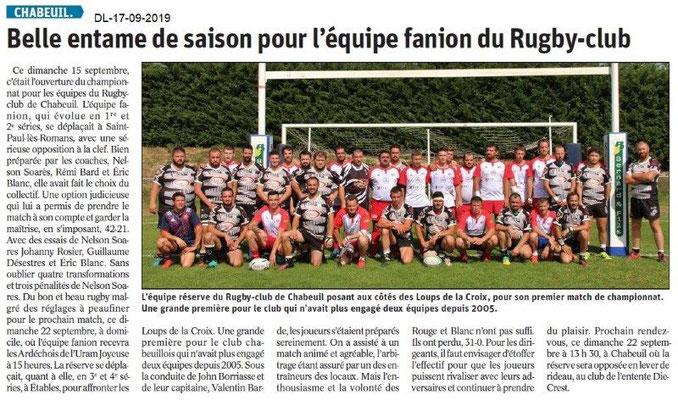 Dauphiné libéré du 17-08-2019- Rugby Club de Chabeuil